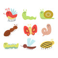 Colorful insects icons isolated wildlife wing detail summer worm caterpillar bugs wild vector illustration. Royalty Free Stock Photo