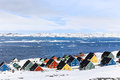 Colorful Inuit houses at the fjord, Nuuk Royalty Free Stock Photo