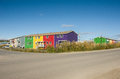 Colorful inuvik apartments rows of in the northen city of northwest territories Stock Image