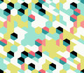 Colorful irregular vector abstract geometric seamless pattern with hexagons