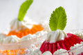 Colorful jelly with mint leaf Royalty Free Stock Images