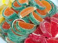 Colorful jelly sweets sugar coated fruity in different colors Royalty Free Stock Images