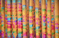 Colorful joss-stick with Chinese auspicious calligraphy & graphi Stock Image
