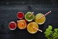 Colorful juice bar fresh organic healthy drinks Royalty Free Stock Photo