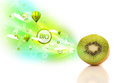 Colorful juicy fruits with green eco signs and icons on white background Stock Image