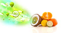 Colorful juicy fruits with green eco signs and icons on white background Stock Photography