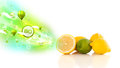 Colorful juicy fruits with green eco signs and icons on white background Stock Photos
