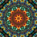 Colorful Kaleidoscope Pattern Green and Orange Royalty Free Stock Photo