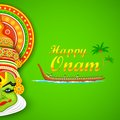 Colorful kathakali face illustration of dancer and boat racing for onam celebration Stock Images