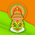 Colorful kathakali face illustration of dancer for onam celebration Royalty Free Stock Image