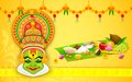 Colorful kathakali face illustration of dancer for onam celebration Royalty Free Stock Photos