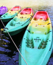 Colorful kayak picture of four in the river Royalty Free Stock Photo