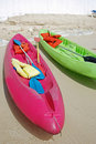 Colorful Kayaks on the Beach Royalty Free Stock Photography