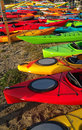 Colorful Kayaks on Shore Royalty Free Stock Photo