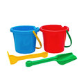 Colorful kids garden tools toy buckets set Stock Image