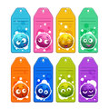 Colorful kids name tags with funny cartoon round fuzzy characters.