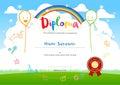 Colorful kids summer camp diploma certificate template in cartoo