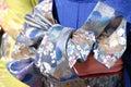 Colorful kimono fabric Stock Images