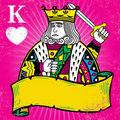 Colorful King of Hearts with banner illustration Stock Photography