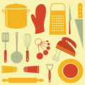Colorful kitchen related elements composition Royalty Free Stock Image
