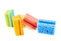 Colorful kitchen sponge composition isolated over white background Stock Image