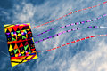 Colorful kite in blue sky Royalty Free Stock Photography