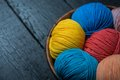 Colorful knitting yarn balls in basket Royalty Free Stock Photo