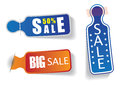 Colorful labels with 50% sale & discount messages Stock Photography