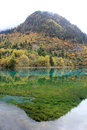 Colorful lake in jiuzhaigou autumn reputed as a fairyland located county of aba tibetan and qiang Stock Image