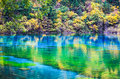 Colorful lake in jiuzhaigou valley autumn at jiuzhai national park china Stock Photography