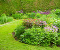 Colorful landscaped formal garden selective focus Royalty Free Stock Photo