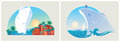 Colorful landscapes on the sea resort vector illustration Royalty Free Stock Photo