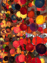 Colorful lanterns made of threads Royalty Free Stock Photo