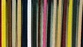 Colorful leather belts collection in the store Stock Images