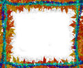 Colorful Leaves [maple] Border frame on white Royalty Free Stock Photo