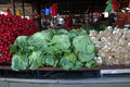 Colorful lettuce, onions, radishes on market stall in Belgrade, Serbia
