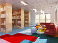 Colorful library in kitch styled school