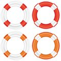 Colorful lifebuoy set with stripes and rope life salvation isolated on white background vector illustration Royalty Free Stock Photography