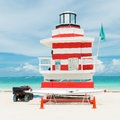 Colorful lifeguard tower in Miami Beach Royalty Free Stock Photo
