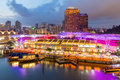 Colorful light building at night in Clarke Quay, Singapore. Clar Royalty Free Stock Photo