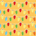 Colorful light bulbs garland seamless pattern. Vector illlustration