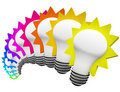 Colorful Light Bulbs Thinking of Innovative Ideas Stock Photography