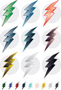 Colorful lightning bolts the bolt comes in few colors and two styles volume and flat Royalty Free Stock Photography