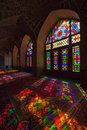 Colorful Lights Passing Through Stained Glass Windows of Nasir al-mulk Mosque in Shiraz City of Iran Royalty Free Stock Photo