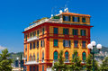 Colorful living building in the city center. Genoa city