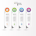 Colorful long rounded stickers with icons. Infographic concept. Royalty Free Stock Photo