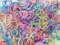 Colorful loom bands multi colored elastic background Stock Image