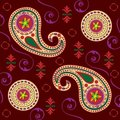 Colorful Lotus Paisley Stock Photo