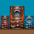 Colorful loudspeakers Royalty Free Stock Photography