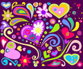 Colorful love doodle Royalty Free Stock Images